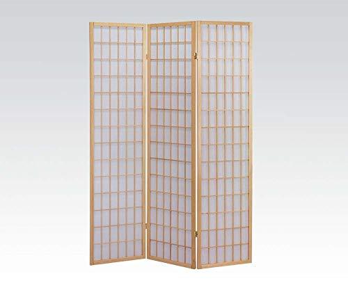 ACME 02285 Naomi 3-Panel Wooden Screen, Natural Finish