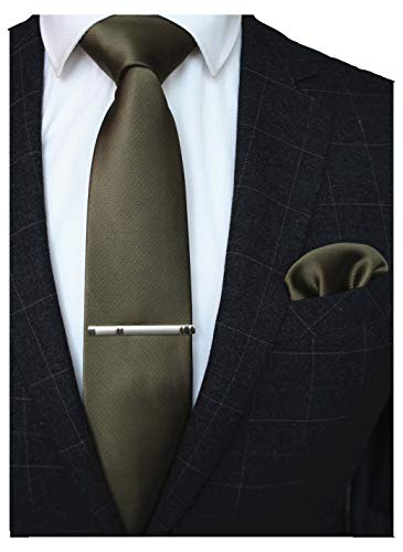 (JEMYGINS Brown Formal Necktie and Pocket Square Tie Clip Sets for Men (20))
