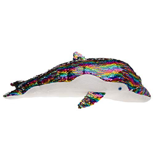 """GiftsNBeyond 20"""" Dolphin Stuffed Animal Sequin Pillow for Couch Bed Chair Plush Stuffed Animals Toys"""