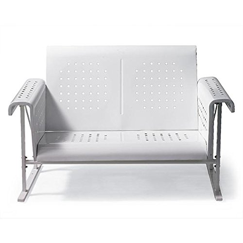 Vintage Collection Outdoor Patio Metal Glider Loveseat 2 Person Settee White Collection Loveseat Glider