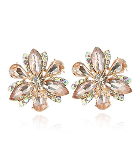 SP Sophia Collection Women's Stunning Crystal Statement Floral Stud Clip On Earrings in Rose Gold