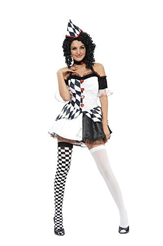 Star Clown Costumes (Ladies Harlequin Female Costume for Clown Circus Jester Fancy Dress Outfit Adult by Partypackage Ltd)