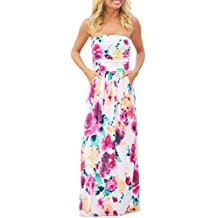 YACUN Women's Summer Strapless Pocket Maxi Beach Cocktail Dress