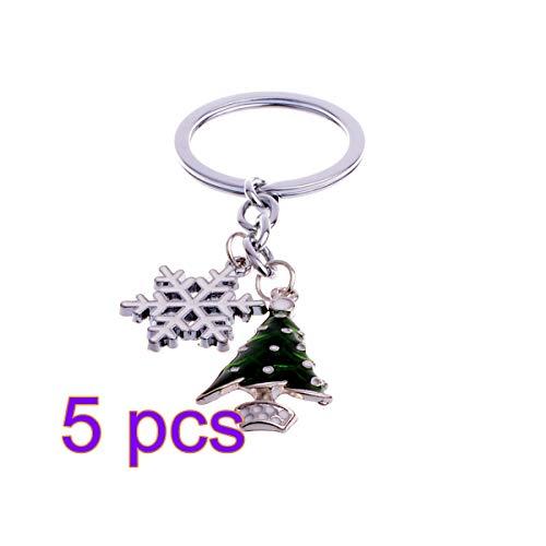 (BESTOYARD Cute Mini Christmas Tree and Snowflake Design Handbag Keychain Key Ring Decorative car Key Chain Trinket Souvenir Key Pendant)