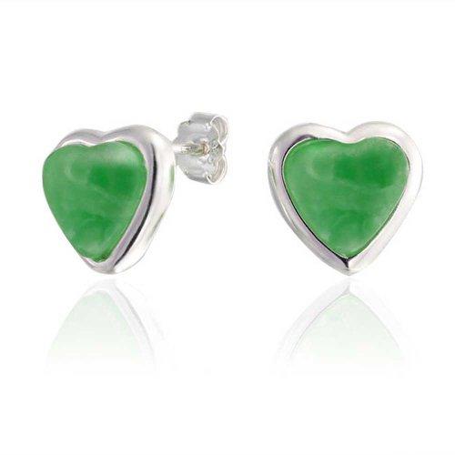 Gemstone Dyed Green Jade Heart Shaped Bezel Set Stud Earrings For Women For Girlfriend 925 Sterling Silver