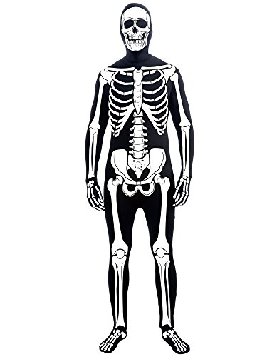 Forum Novelties Men's Skeleton Man Bone Skin Suit Adult Costume, Multicolor, Standard (Skeleton Costumes)