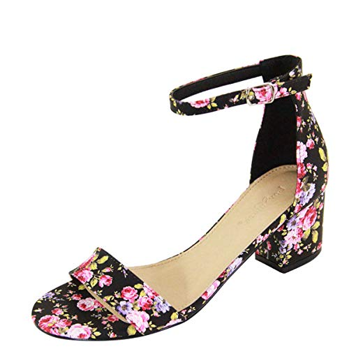 - Bella Marie Women's Strappy Open Toe Block Heel Sandal Black Floral 8
