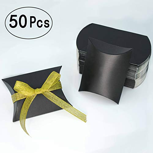 - Black Kraft Paper Pillow Box Candy Treat Box Kit Gift Boxes With Gold Ribbon Wedding Favors Baby Shower Birthday Graduation Party Thank You Boxes Supplies, 50pc