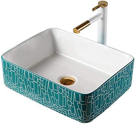 洗面ボウル 現代の幾何学長方形内閣洗面所の洗面化粧台用のセラミック容器シンク浴室ボウル盆地 洗面器 (Color : Green, Size : 8006c(48x37x13cm))