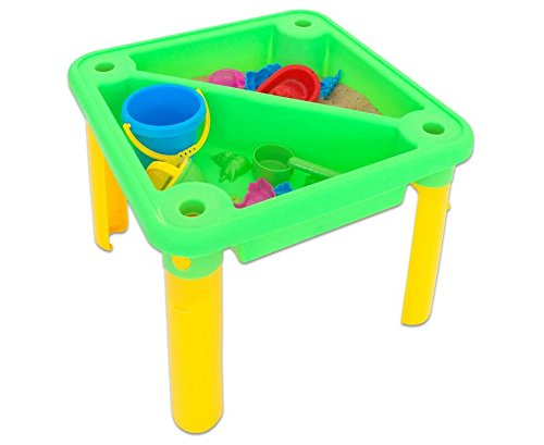 Betzold Sand- und Wasserspieltisch, inklusive Abdeckplane, Sandkasten, Sandspielzeug, 13 teilig - Kinder Wasser spielen sandeln Plantschen Kinderspielspaß Sandspieltisch Spieltisch