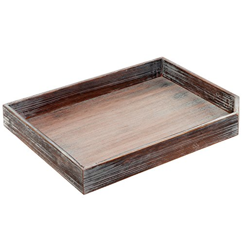 Drink Tray - Vintage Distressed Brown Wood Breakfast Coffee Table Tray, Office Desktop File, Mail, Document Holder