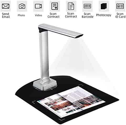 Koolertron Professional Book Document Scanner Camera, Auto Focus 12Mp High Definition Camera Capture A4 Size, Portable Automatic Scanning, Multi-Language OCR Convert Images to Word/Excel/PDF/TXT
