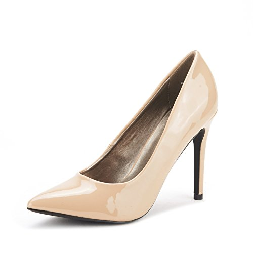 DREAM PAIRS Christian Women's Classic Fashion Pointed Toe High Heel Dress Pumps New Nude-Patent Size 9