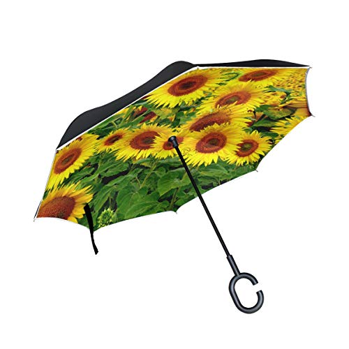 Gold Yellow Patterned Natural Beautiful Marbling Inverted Umbrella Double Layer Windproof UV Protection Compact Car Reverse Umbrella