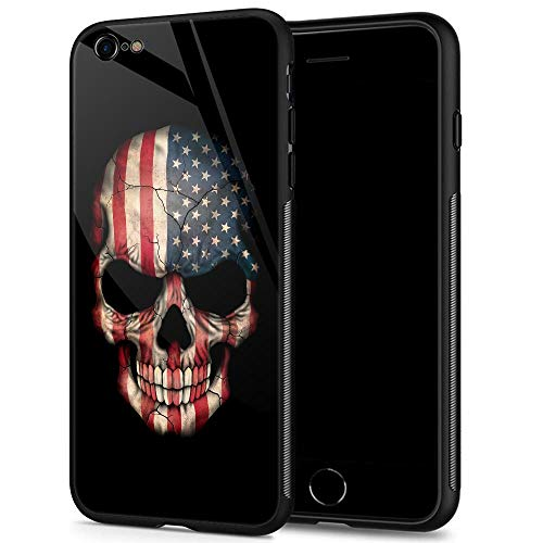 iPhone 6s Plus Case,9H Tempered Glass iPhone 6 Plus Cases for Men Boys,Cool American Flag Skull Pattern Design Printing Shockproof Anti-Scratch Case for Apple iPhone 6/6s Plus 5.5 inch Skull