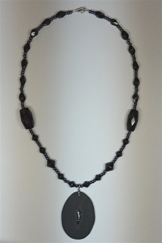 - Elegant Black Drusy and Onyx Necklace