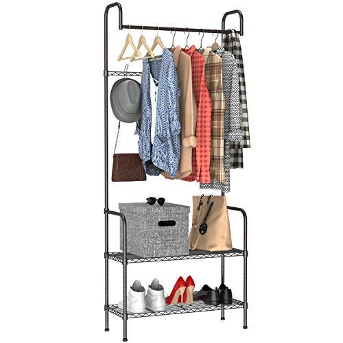 Pipishell Metal Clothing Storage Rack with Shoe Rack, Hat Rack, Entryway Coat Rack, Hallway Garment Rack Bench Max Capacity 66lbs, Single Rod, 5 Hooks(Height Adjustable), 2-Tier Hall Trees