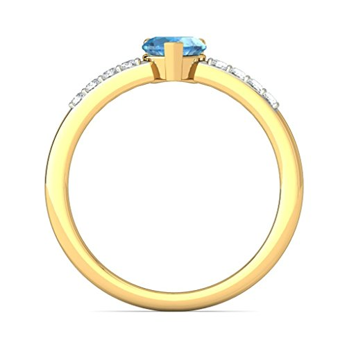 14 K Or jaune, 0,12 carat Diamant Blanc (IJ | SI) Topaze bleue et diamant Bague
