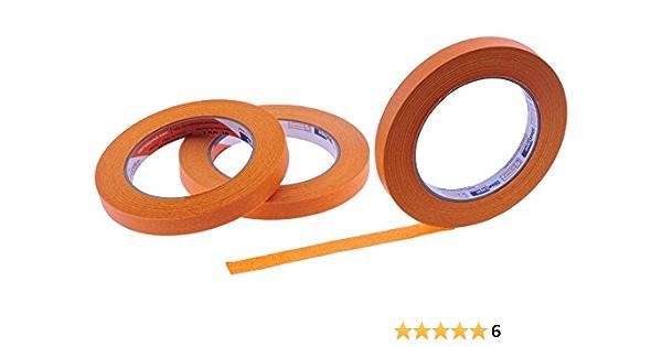 "Thin STIKK Orange Painters Masking Tape 3 pack 1//4/"" .25 inch x 60yd 6mm x 55m"