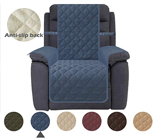 (Ameritex Recliner Chair Cover Keep Your Couch Stain, Dirt & Scratches-Free (Pattern2:Navy, Recliner))
