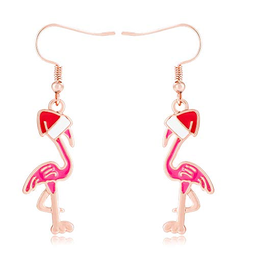 SENFAI Pink Flamingo Santa Hat Drop Earring Bracelet Bangle Jewelry(Earring 2)