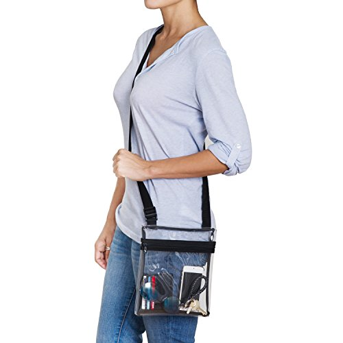 b92837540b0e grinderPUNCH Small Clear Cross-Body Messenger Shoulder Bag Long Strap - NFL  Stadium Approved Clear