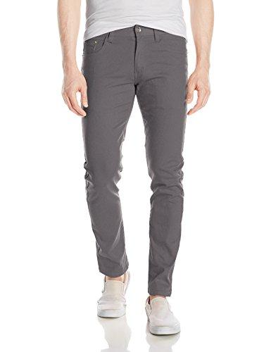 WT02 Men's Basic Color Twill Stretch Span Pants, Dark Grey(New), (Stretch Twill Skinny Pants)