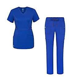 Pop-stretch Jr. Fit Women Scrub Set - Crossover Scrub Top & Low Rise Slim Pants - 3505 - Royal Blue - S