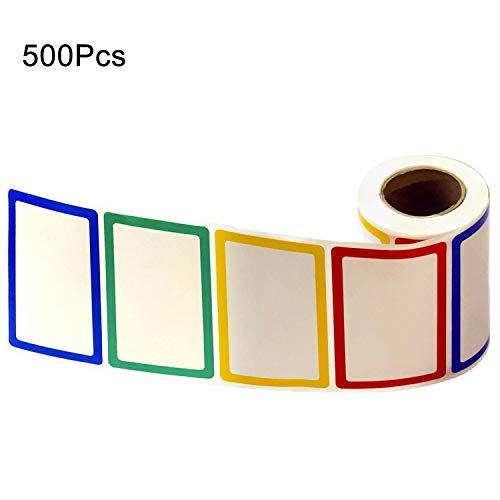 Colorful Plain Name Tag Sticker Labels, Bordered Name Tag Sticker Adhesive Labels, 500pcs /Roll, 3 1/2 X 2 1/4, 4 Colors (1 Roll) ()