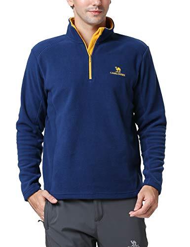 Zip Pullover Jacket Half (Camel Half Zip Pullover Jacket Mens Lightweight Fleece Pullover Sweatshirt Dark Blue, 2XL)