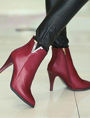Uk6 Black us8 Semicuero Tacón Negro Mujer Red Cn39 Puntiagudos Vestido us8 Eu39 Botas Stiletto Xzz Casual De Zapatos Rojo TqwUZU