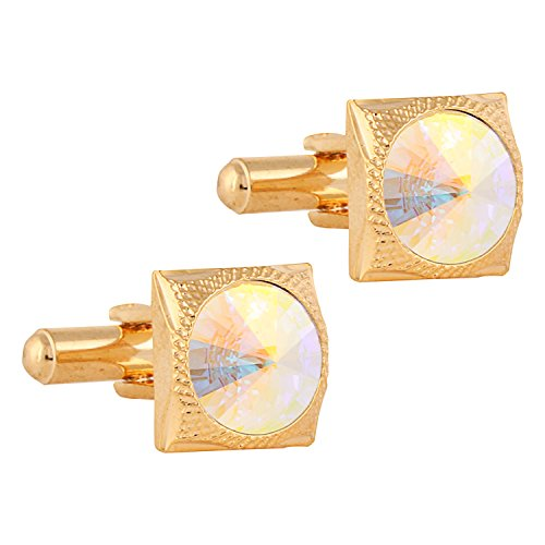 (TRIPIN Men's Golden Square Brass Cufflinks With Swarovski Diamond Crystals (Certificate Not Available) In A Gift Box)