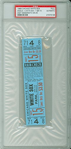 1968 Chicago White Sox FULL TICKET vs California Angels Andy Messersmith Win #4 - September 15, 1968 [Grades solid Near-Mint] by Mickeys Cards