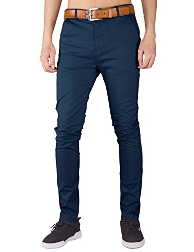 Trousers Skinny Stretch (Italy Morn Men Chino Pants Khaki Slim Fit Stretch Cotton Twill Fabric Trousers L Navy Blue)