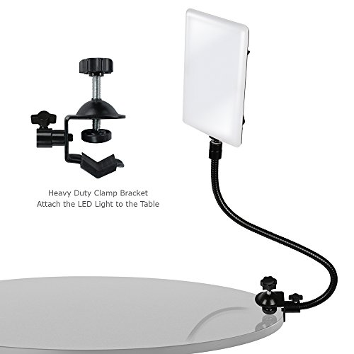 LimoStudio LED Light Panel with Gooseneck Extension Adapter, Mini Table Top Light Stand, White Seamless Studio Matte Cyclorama Module Background, Photo Video Lighting Kit, Photography Studio, AGG2210 by LimoStudio (Image #4)