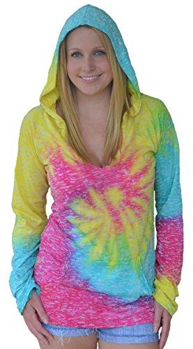 Sunward Women's Tie Dye Burnout Hooded Top Large