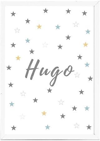 Papers rain Lámina Infantil 30x40 Personalizada con TU Nombre. Ideal decoración habitación, Regalo Nacimiento, Bautizo. -Stars- Se envía Desde España: Amazon.es: Hogar