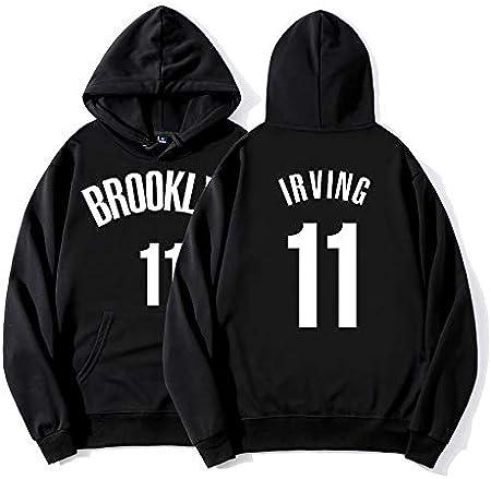 SHPP Kyrie Irving 11# Brooklyn Nets Ropa de Entrenamiento de Baloncesto Retro Vintage Casual Sudadera con Capucha Suelta-Unisex (S-XXXL)-thick-1-M