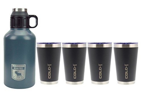 4 Tumbler 16 Oz Mugs - reduce COLD-1 Stainless Steel Insulated 64oz Growler and 4 Pack COLD-1 Stainless Steel 16oz Tumbler, Outdoor Series