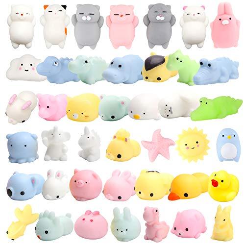 (WATINC Random 30 Pcs Cute Animal Mochi Squishy, Kawaii Mini Soft Squeeze Toy,Fidget Hand Toy for Kids Gift,Stress Relief,Decoration, 30 Pack)