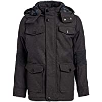 Urban Republic Boys Wool Officer Jacket with Hood (10/12, Charcoal Wool)