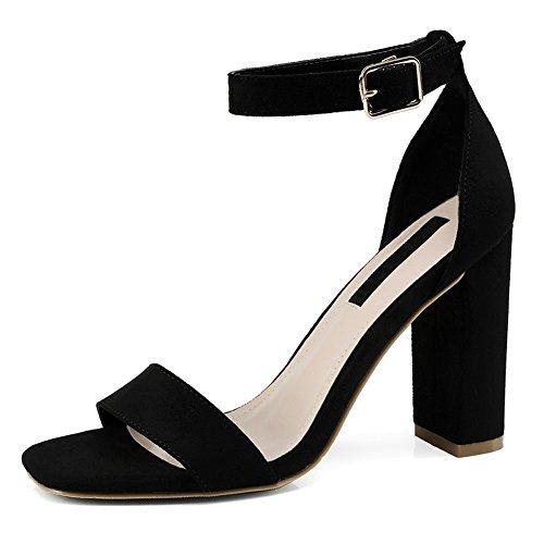 Talons Femmes Noir Hauts Chaussures Ruiren Cheville Pour Ouvert Dames Sandales qF57twxH