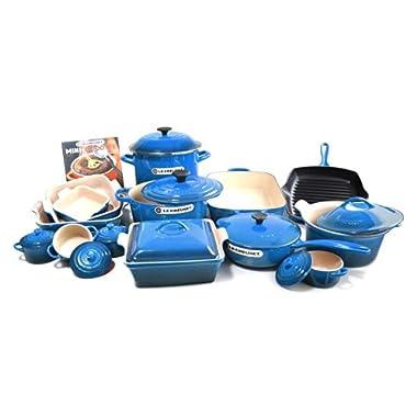 Le Creuset Signature Marseille Blue Enameled Cast Iron 24 Piece Cookware Set