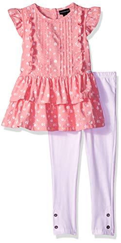 Calvin Klein Girls' Toddler 2 Pieces Legging Set, Coral Print/White, -
