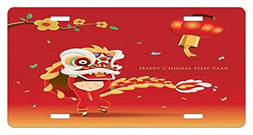 Flowering Trunk (Chinese New Year Little Boy Performing Lion Dance with The Costume Flowering Branch Lantern Funny Metal License Plate Frame Aluminum Frame Tag Holder)