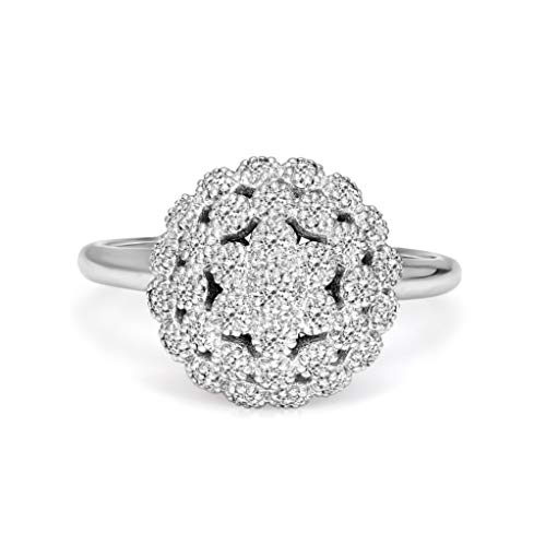 100% Pure Diamond Cluster Ring IGI Certified 1/2 ct Natural Diamond Ring For Women I2-I3Clarity 14K White Gold Diamond Jewelry Gifts For Women (GH-Color) (Jewelry Gifts For Women)