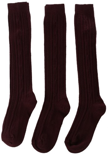 Jefferies Socks Big Girls'  School Uniform Acrylic Cable Knee High  (Pack of 3), Burgundy, Medium (Knee High Burgandy Socks)