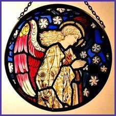 Decorative Hand Painted Stained Glass Window Sun Catcher Roundel in an Angel Praying William Morris Design.