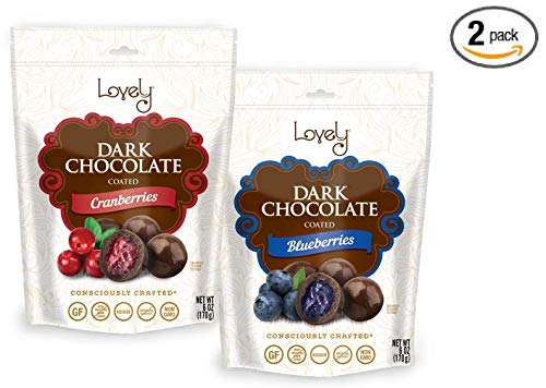 Premium Dark Chocolate Cranberries & Blueberries (Combo 2-Pack) - Lovely Candy Co. (2) 6oz Bags - NON-GMO, NO HFCS, Kosher & Gluten-Free | Consciously crafted in the - Chocolate Cranberries Dark