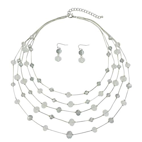 Bocar 5 Layer Handmade Beads Necklace Earring Set Long Illusion Necklace for Women (NK-10464-white) (Set Layer Necklace)